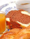 Greek breakfast cake. With coffee and juice Stock Photo