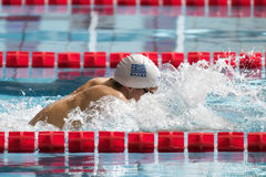 Greek breaststroke swimmer during 7th Trofeo citta di Milano swimming competition. Stock Photography