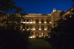 Greek building nightscene Stock Photography