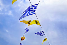 Greek and byzantine flags Royalty Free Stock Images