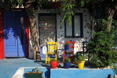 Greek cafe on the beach. Terrace Stock Photo