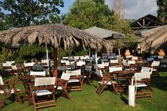 Greek cafe on the beach. Terrace Royalty Free Stock Photography