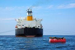 Greek Cargo Ship Royalty Free Stock Photography