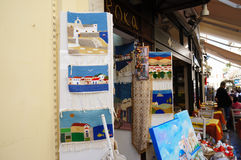 Greek carpets in the market Athens,Greece. royalty free stock photography
