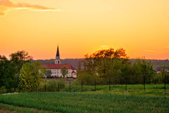 Greek-catholic cathedral in Krizevci. Croatia - sunset view Royalty Free Stock Photography