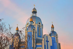 Greek Catholic Church of the Holy Virgin in Vinnitsa, Ukraine. On the sunset royalty free stock photos