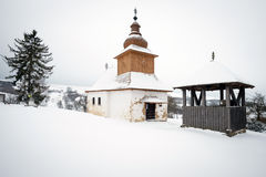 The Greek Catholic wooden church and belfry in Kalna Roztoka, Slovakia Royalty Free Stock Images