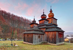 Greek Catholic Wooden church, Dobroslava, Slovakia Royalty Free Stock Photo