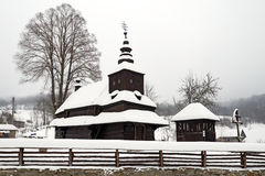 The Greek Catholic wooden church in Rusky Potok, Slovakia Royalty Free Stock Photos