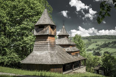 The Greek Catholic wooden church of St Cosmo and Damian, Slovaki Royalty Free Stock Photos