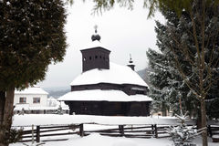 The Greek Catholic wooden church in Ulicske Krive, Slovakia Royalty Free Stock Photos