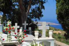 Greek cemetery. Graves in a Greek cemetery on the island of Crete royalty free stock images