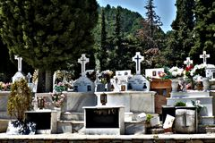 Greek cemetery photo in the afternoon royalty free stock photo