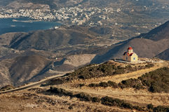 Greek chapel on top of the hill. Little Greek chapel in the hill around Karpathos city stock photography