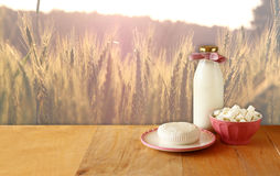 Greek cheese , bulgarian cheese and milk on wooden table over wheat field background. Symbols of jewish holiday - Shavuot Stock Photography