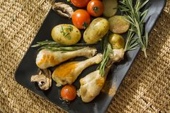 Greek Chicken from above Royalty Free Stock Photos