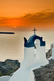 Greek Church. In santorini greece with a cross Royalty Free Stock Image