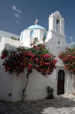 Greek church. A greek church with a beautiful dome and a flowering tree in the greek islands Stock Image
