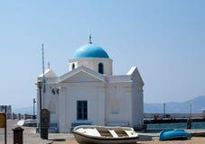 Greek church. Greek white church with blue cupola on Mykonos island, Greece Stock Images