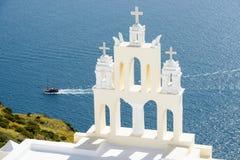 Greek church bell tower, Santorini, Greece Royalty Free Stock Image