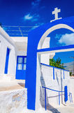 Greek church with blue colors on Kalymnos, Greece Royalty Free Stock Photography