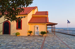 Greek church in a city of Neos Marmaros at golden hour, Sithonia Stock Photography