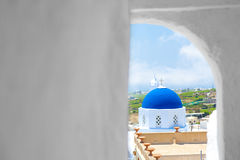 Greek Church. And Cross - Santorini royalty free stock photo