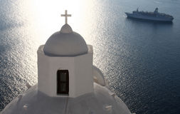 Greek church and cruise ship Royalty Free Stock Images