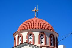 Greek church dome, Elounda. Royalty Free Stock Photo