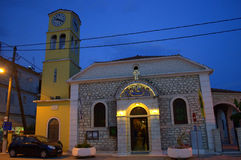 Greek church evening view Royalty Free Stock Image