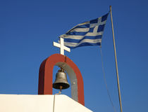 Greek church and flag Stock Photography