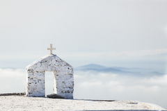 Greek Church, Foggy Morning Scene, Tinos, Greece. Stock Images