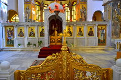 Greek church interior Stock Photo