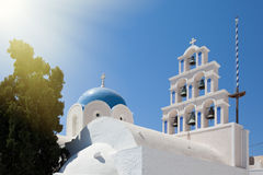 Greek church. Orthodox greek church with tradition blue roof Stock Image