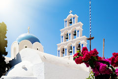 Greek church. Ortodox greek church with tradition blue roof Royalty Free Stock Images