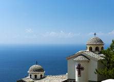 Greek church over the sea Royalty Free Stock Image