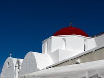 Greek Church with Red Dome Royalty Free Stock Image