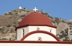 Greek church red dome in Crete. Greece Stock Photography