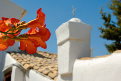 Greek Church Roofing. Church roof with flower, Corfu royalty free stock images