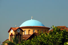 Greek Church Rooftop Royalty Free Stock Photo