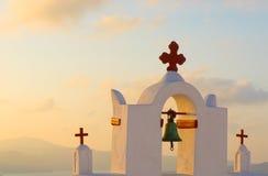 Greek church at Santorini island Stock Photos