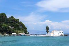 Greek church at sea Royalty Free Stock Photo
