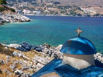 Greek church on the shore on the island of Kefalonia in the Ionian Sea in Greece stock photos