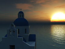 Greek church at sunset. Stock Photo