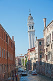 Greek church tower leaning in Venice Stock Image