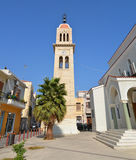 Greek church tower. Rethymno city Megalos Antonios church tower landmark architecture Stock Image