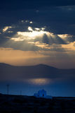 Greek Church. View of Greek Church Beneath Clouds stock photos