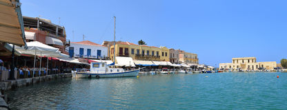 Greek city old harbour Stock Photo
