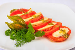 Greek classic summer salad of tomatoes and cheese feta Royalty Free Stock Images
