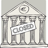 Greek closed bank. Closed sign in front of Greek bank Royalty Free Stock Photos